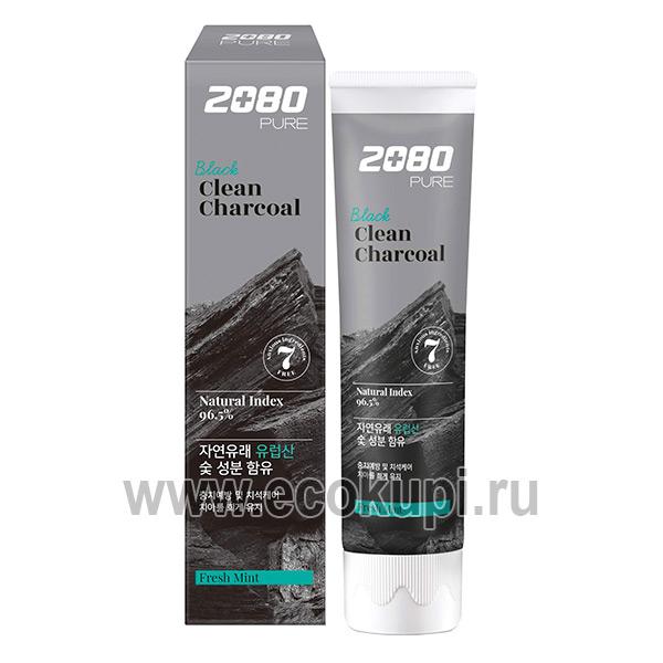 Корейская зубная паста отбеливающая уголь и мята Kerasys Dental Clinic 2080 Pure Black Clean Charcoal Fresh Mint, купить зубную щётку с тонкими щетинками