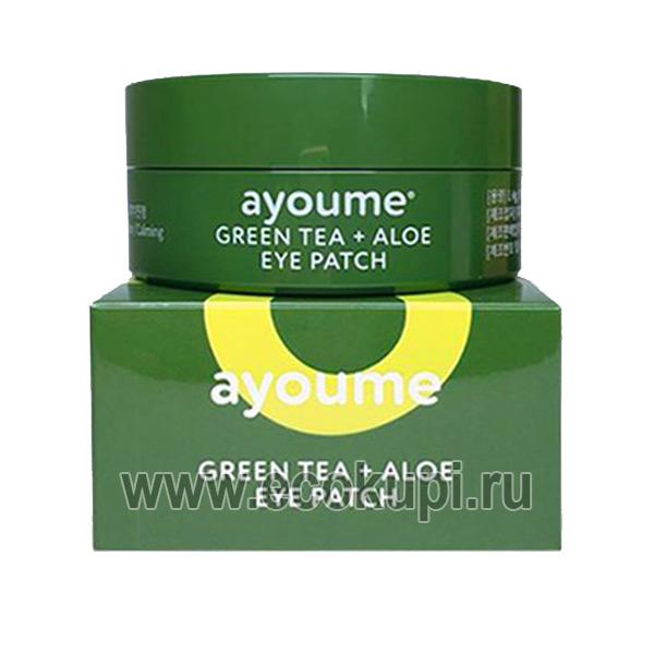 корейские гидрогелевые патчи с экстрактом алоэ и зеленого чая Ayoume Green Tea Aloe Eye Patch, купить тушь для ресниц, интернет магазина косметики для глаз