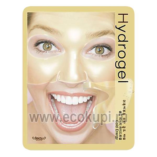 Корейская гидрогелевая маска для лица с коллоидным золотом Beauugreen Gold Energy Hydrogel Mask, купить очищающую маску для лица доставка по России, отзывы