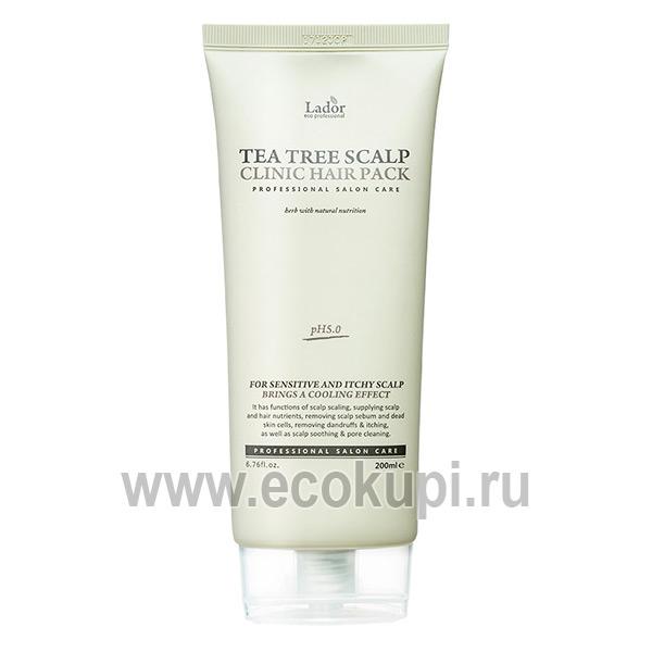 Маска-пилинг для кожи головы с чайным деревом Lador Tea Tree Scalp Clinic Hair Pack, купитьсредство для ослабленных волос из Японии Кореи, самовывоз из ПВЗ