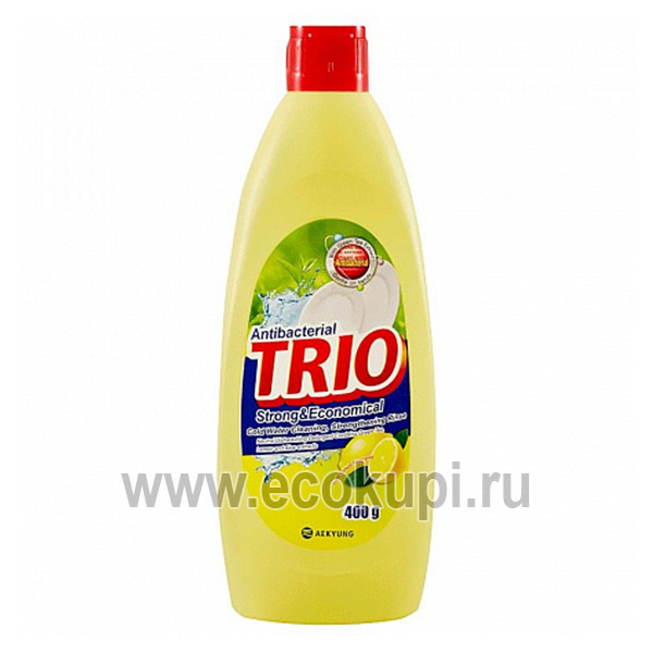 Корейское антибактериальное средство для мытья посуды лимон Kerasys Trio Antibacterial Strong & Economical, купить корейскую бытовую химию для дома недорого