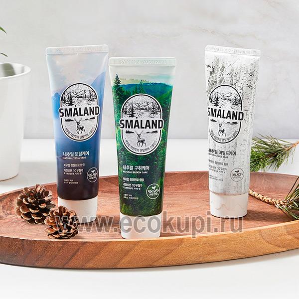 Корейская зубная паста премиум Классическая мята Kerasys Smaland Nordic Classic Mint купить недорогую зубную щетку удобная головка Корея доставка курьером