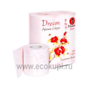 Японская туалетная бумага трехслойная с тиснением и ароматами Maneki Dream, купить туалетную бумагу нежную натуральную экономичную из Японии недорого