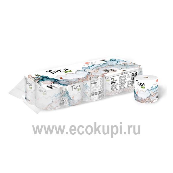 Туалетная бумага трехслойная Taka Home 10 рулонов Ecokupi   Экокупи японский интернет магазин в Москве купить хорошую туалетную бумагу дешево