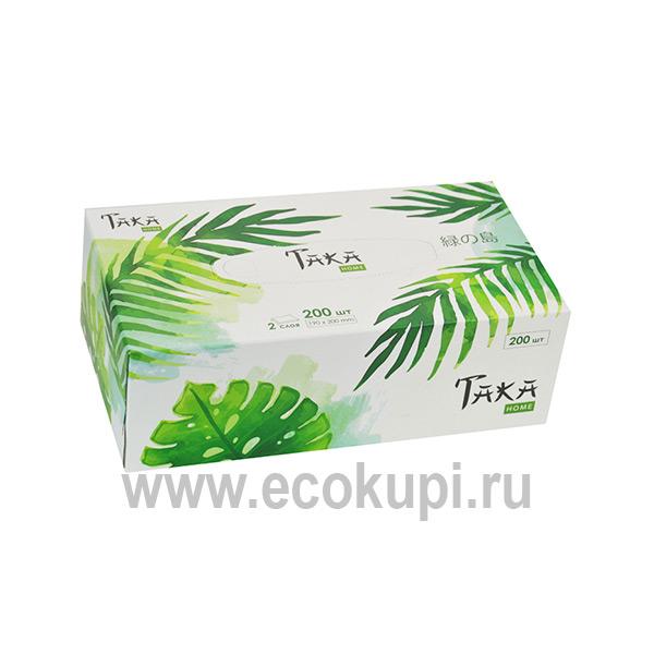 Салфетки бумажные двухслойные Taka Home Green Forest уникальные гигиенические средства купить японскую бытовую химию описание отзывы доставка