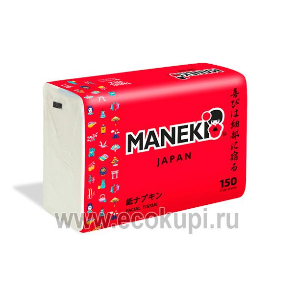 Японские салфетки бумажные двухслойные Maneki Red купить японские хозяйственные товары Экокупи интернет магазин японских товаров в Москве