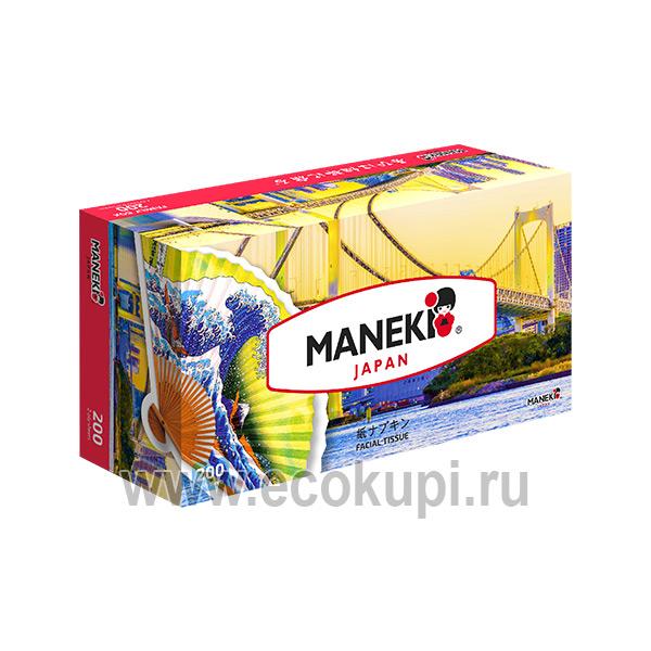 Японские салфетки бумажные двухслойные Maneki Dream купить салфетки для лица и тела выгодные цены удобная доставка система скидок распродажи