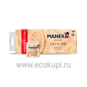 Японская туалетная бумага трехслойная премиум Maneki Premium Kabi купить товары гигиены магазин хозтоваров Экокупи Москва Санкт-Петербург