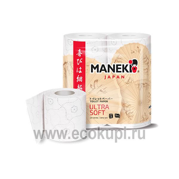 Японская туалетная бумага трехслойная премиум Maneki Premium Kabi купить товары гигиены магазин товаров для дома самовывоз СДЭК по России