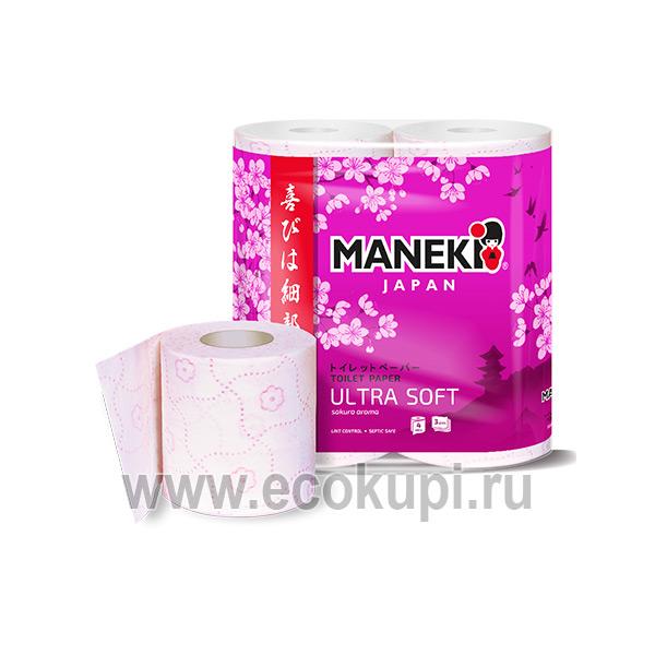 Японская туалетная бумага трехслойная с розовым тиснением и ароматом Сакуры Maneki Dream купить хозтовары интернет магазин Экокупи самовывоз