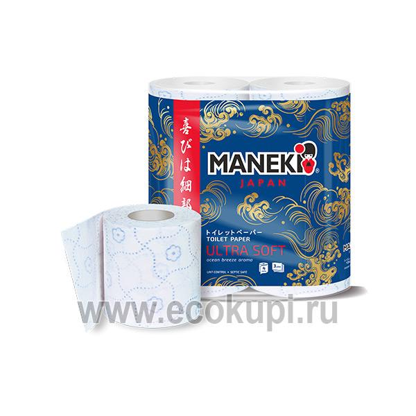 Японская туалетная бумага трехслойная с голубым тиснением и ароматом океанский бриз Maneki Ultra Soft Ocean 4 рулона купить хозтоварыМосква