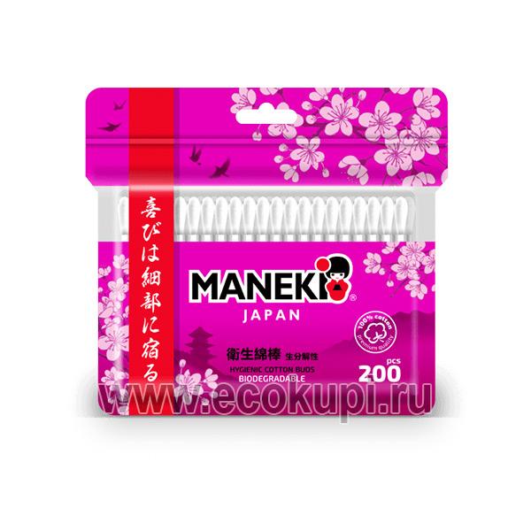 Японские ватные палочки белые с бумажным стиком Maneki Red купить недорого оптовые хозтовары интернет магазин из Японии и Кореи в Москве
