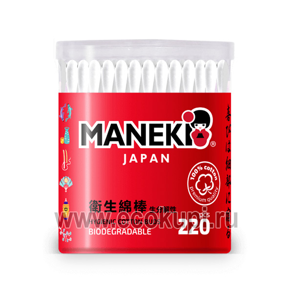 Японские ватные палочки белые с бумажным стиком Maneki Red купить бытовую химию из Японии подробное описание отзывы клиентов удобная доставка
