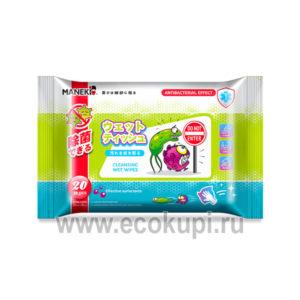недорогие японские очищающие влажные салфетки с антибактериальным эффектом Maneki купить недорого нежные бумажные салфетки самовывоз акции