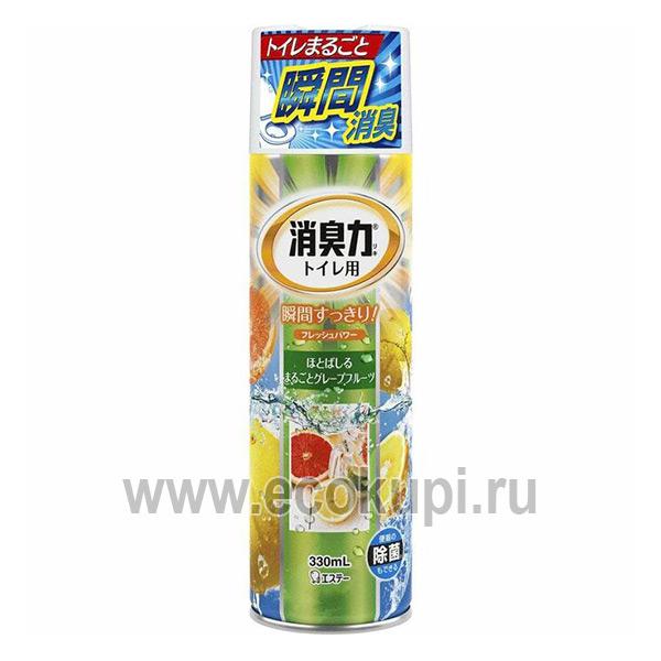 Спрей-освежитель воздуха для туалета с ароматом грейпфрут ST CORPORATION Shoshuriki поглотители запахов купить недорого Японии Кореи России