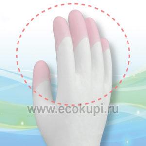 Перчатки виниловые тонкие для бытовых и хозяйственных нужд с уплотнением в области кончиков пальцев ST Family купить чистящее средство