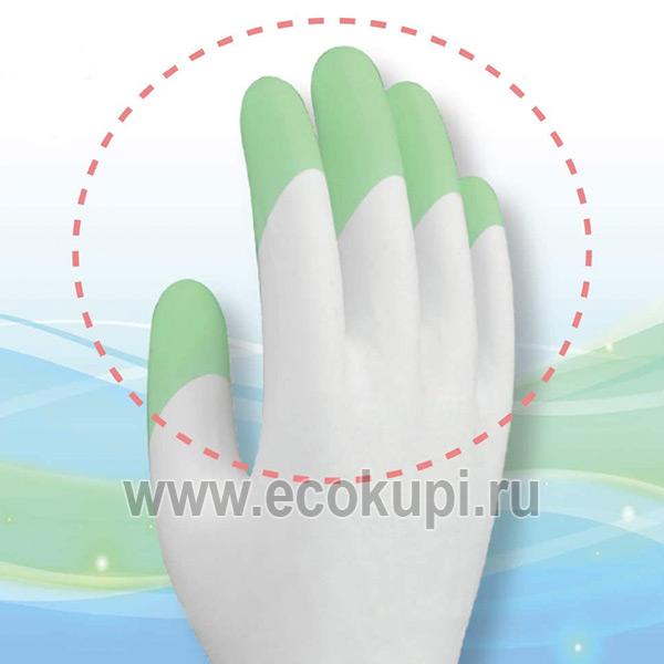 Перчатки виниловые тонкие для бытовых и хозяйственных нужд с уплотнением в области кончиков пальцев Family купитьчистящеесредство отпятен.