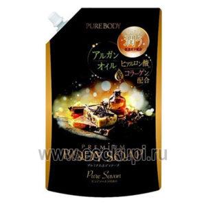 Увлажняющее крем-мыло для душа с аргановым маслом гиалуроновой кислотой и коллагеном с ароматом утренней свежести MITSUEI Pure Body Premium