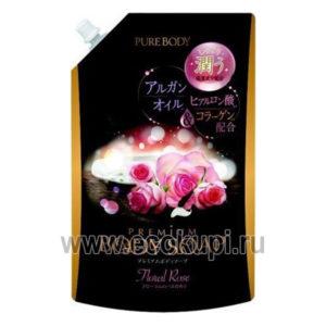 Увлажняющее крем-мыло для душа с аргановым маслом гиалуроновой кислотой и коллагеном с роскошным ароматом роз MITSUEI Pure Body Premium