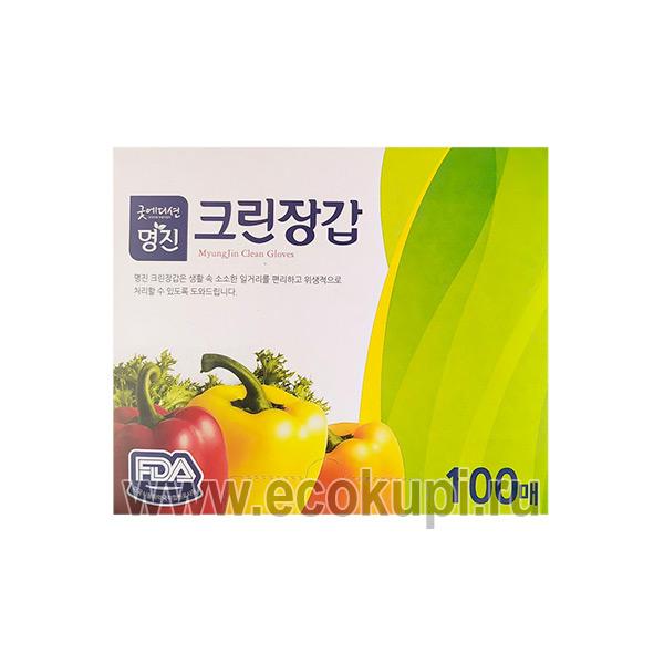 корейские перчатки хозяйственно-бытового назначения полиэтиленовые Myungjin Hygienic Gloves купить дешево бытовая химия кухни из Японии Кореи