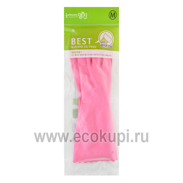 Корейские перчатки из ПВХ с хлопковым напылением размер М Myungjin Hygienic Glove PVC купить хозяйственные средства для уборки дома дачи