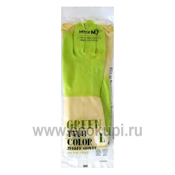 корейские перчатки латексные хозяйственные двухцветные размер L Myungjin Rubber Glove Two Tone купитьсалфеткадля стёкол из микроволокна