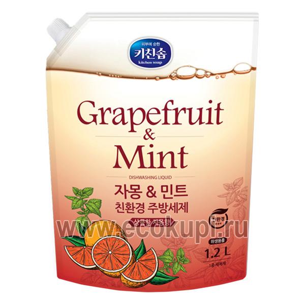Корейская жидкость для мытья посуды с ароматом грейпфрута и душистых трав Mukunghwa купить товары для мытья посуды овощей и фруктов Москва