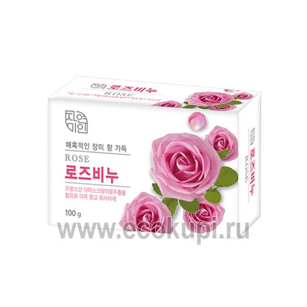 Корейское мыло для сияния кожи с дамасской розой Mukunghwa Rose Beauty Soap купить мыло для волос и тела недорого Экокупи интернет магазин