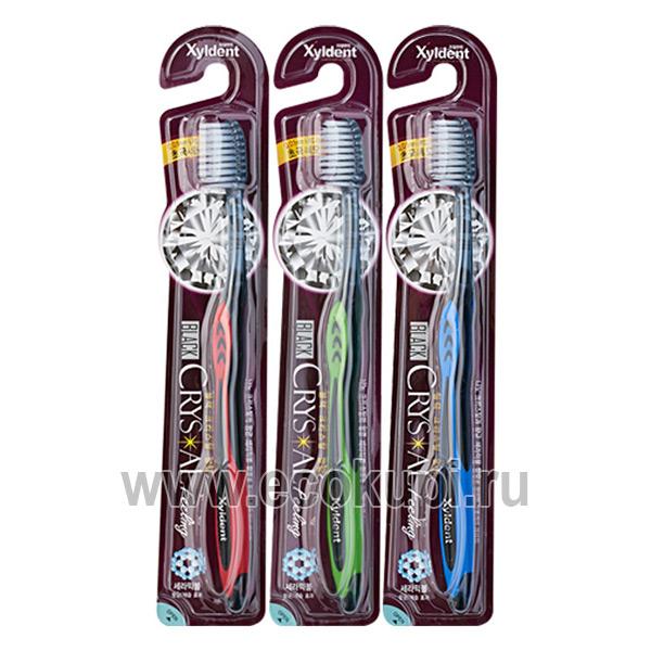 зубная щётка со сверхтонкими концами щетинок разной длины с анионами мягкая Mukunghwa Black Crystal купить товары гигиены рта из кореи