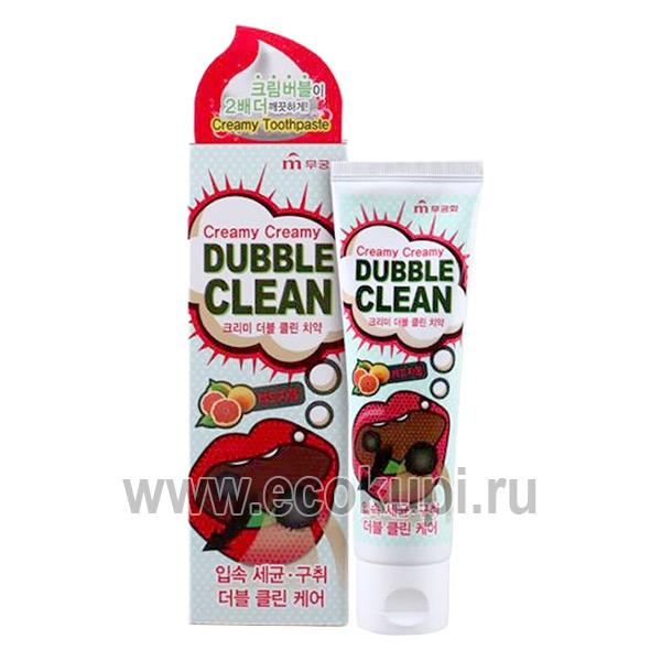 Корейская зубная паста кремовая с очищающими пузырьками и экстрактом красного грейпфрута Mukunghwa купить товары изКореивМоскве доставка