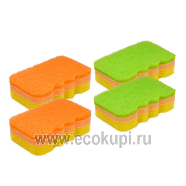 Губка для посуды трехслойная с эффектом образования обильной пены мягкий верхний слой Kikulon Sponge купить чистящий порошок универсальный