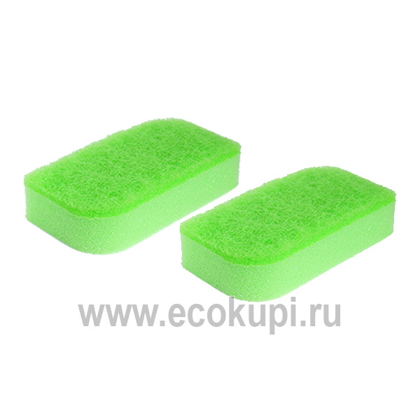 Губка для посуды двухслойная с антибактериальной пропиткой верхний слой средней жесткости Kikulon Kokin Sponge Scourer Non Scratch Green 2 шт