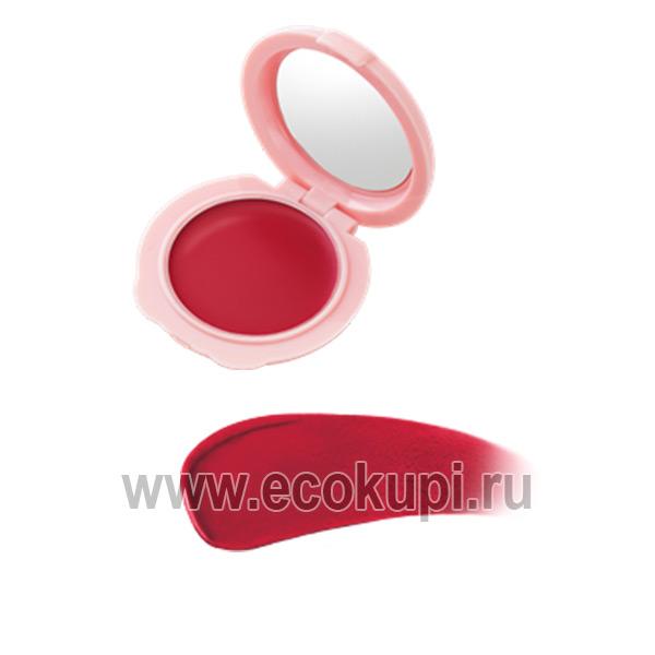 Японская матовая губная помада-тинт красная слива SANA Powder Lip купить недорого бальзам для губ без парабенов опт розница доставка Россия