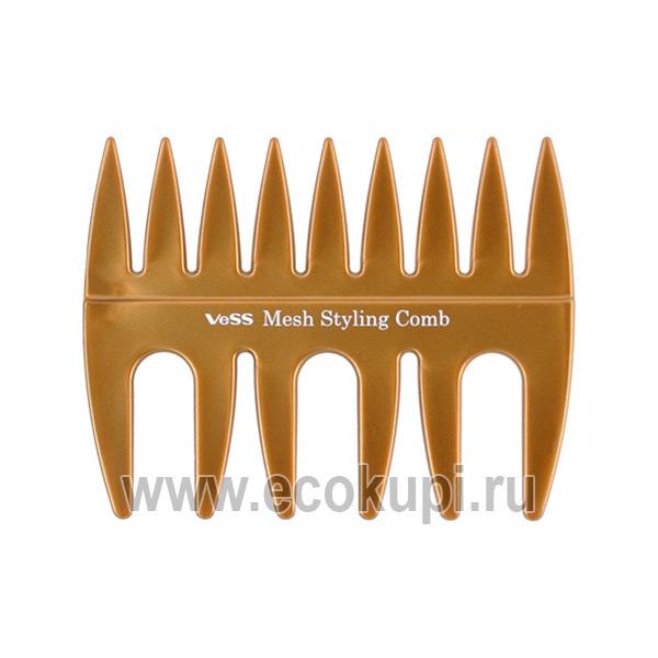Японский гребень с широкими зубчиками для укладки волос Vess Mesh Styling Comb купить сыворотку питательную от выпадения волос из Японии