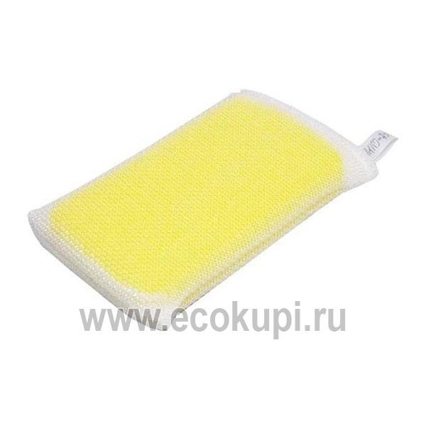 Японская губка для мытья посуды с жесткой сеточкой OH:E Hi Power Sponge купить впитывающую подушечку для кухни интернет магазин Экокупи
