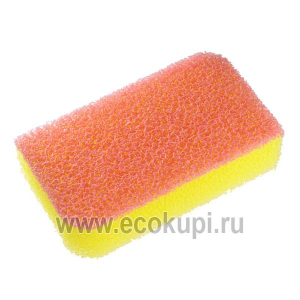 Японская губка для кухонной утвари двухслойная жесткий верхний слой OH:E Zubapika Sponge купить губку для уборки магазин хозтоваров для кухни