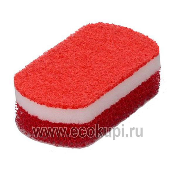 Японская губка для мытья посуды трехслойная овальной формы мягкий верхний слой OH:E Sh Triple Sponge купить чистящую губку для посуды и кухни