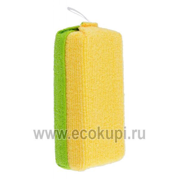 Японская губка для ванной 2-х сторонняя жесткая / мягкая OH:E Sponge For Bathroom купить салфетку для уборки по дому доставка Боксберри СДЭК