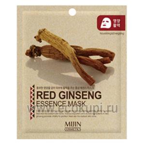 Корейская маска для лица тканевая красный женшень Mijin Red Ginseng Essence Mask купить недорогую антивозрастную косметику Корея Япония Китай