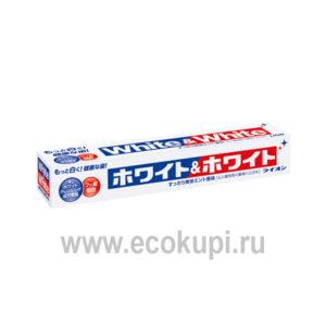 Японская отбеливающая зубная паста c кальцием и фтором со вкусом мяты LION White & White купить зубную щетку с удобной ручкой отзывы клиентов