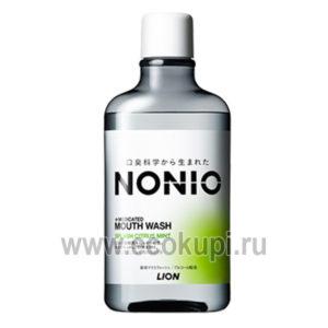Японский ежедневный зубной ополаскиватель с длительной защитой от неприятного запаха без спирта легкий аромат цитрусов и мяты LION Nonio