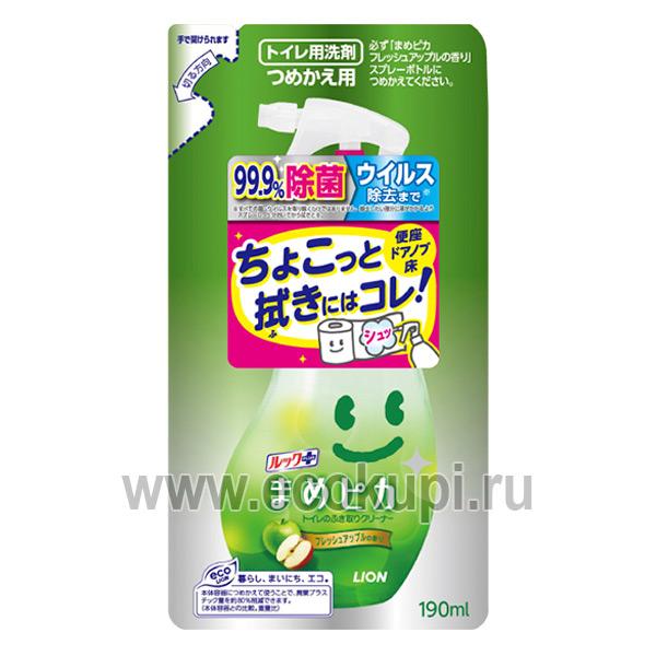 Японское чистящее средство для туалета с ароматом яблока с распылителем LION Look Mame Рiкa недорого купить губку для кухни из целлюлозы