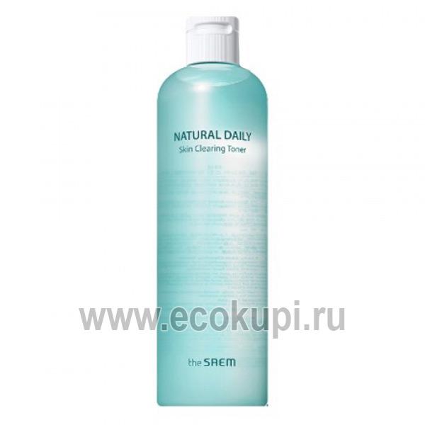 Корейский тонер для лица очищающий The Saem Natural Daily Skin Clearing Toner дешево купить пудру усиленная защита от солнца интернет магазин